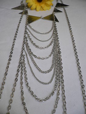 New Women Silver Body Jewerly Multi Chains Crew Neck Spikes Shape Long Necklace - alwaystyle4you - 10