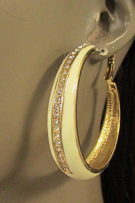 N. Women Gold White Metal Classic Hoop Fashion Earrings Set Multi Rhinestones - alwaystyle4you - 5