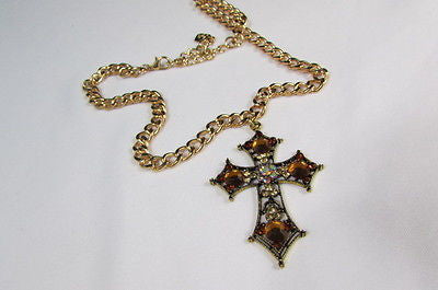 New Women Gold Metal Chain Fashion Necklace Big Cross Brown Rhinestones Pendant - alwaystyle4you - 7