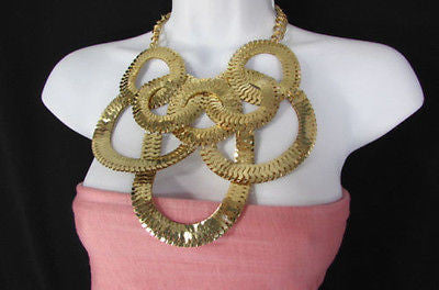 Gold Metal Thin Links Multi Strands Necklace + Earrings Set New Women Fashion - alwaystyle4you - 9