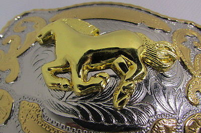 "New Belt Buckle 5.5""/4"" Big Gold Rodeo Horse Large Silver Metal Western Rodeo Fashion Belt Buckle 3D Texas - alwaystyle4you - 7"