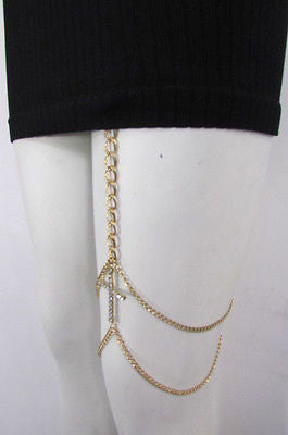 New Women Gold Thigh Leg Metal Chain Links Garter Big Cross Fashion Body Jewelry - alwaystyle4you - 6
