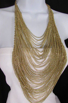 Extra Long Gold Multi Strands Chains Necklace + Earrings Set New Women Fashion - alwaystyle4you - 9