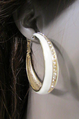 N. Women Gold White Metal Classic Hoop Fashion Earrings Set Multi Rhinestones - alwaystyle4you - 4