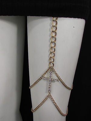 New Women Gold Thigh Leg Metal Chain Links Garter Big Cross Fashion Body Jewelry - alwaystyle4you - 7
