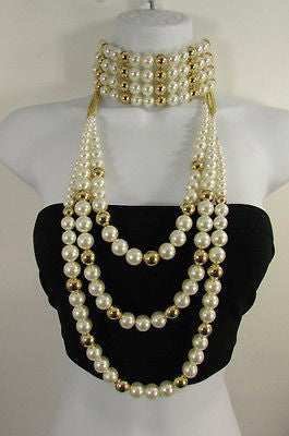 Gold Metal Multi Pearl Beads 3 Strands Chains Choker Necklace New Women Fashion - alwaystyle4you - 1