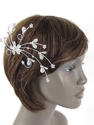 New Women Silver Metal Big Flowers Leaf Rhinestone Large Head Fashion Jewelry - alwaystyle4you - 10