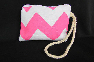 New Women Fashion Mini Purse Fabric Make Up Coin Wallet Chevron Print Rope Starp - alwaystyle4you - 25