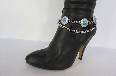 Turquoise Blue Beads Silver Metal Boot Chain Bracelet One Strap New Women Fashion Western
