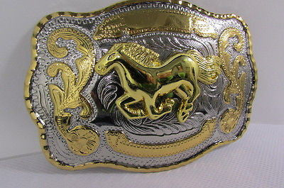 "New Belt Buckle 5.5""/4"" Big Gold Rodeo Horse Large Silver Metal Western Rodeo Fashion Belt Buckle 3D Texas - alwaystyle4you - 8"