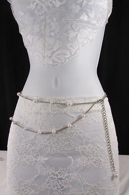 Silver Chains Hip High Waist Belt White Imitation Pearl New Women Fashion Accessories S M L XL