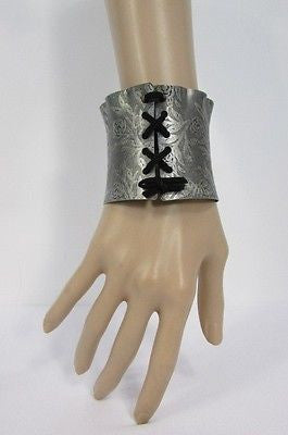 Women Silver Flowers Stamp Metal Corset Bracelet Fashion Jewelry Black Tie - alwaystyle4you - 3