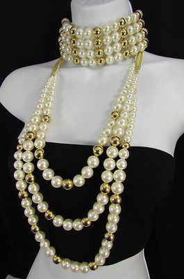 Gold Metal Multi Pearl Beads 3 Strands Chains Choker Necklace New Women Fashion - alwaystyle4you - 2