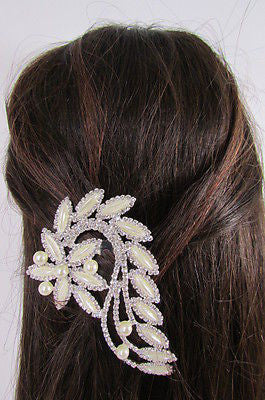 New Women Silver Metal Head Jewelry Rhinestones Long Leaf 1 Side Hair Pin Flower - alwaystyle4you - 1