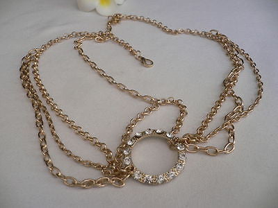 New Miami Beach Women Gold Big Ring Metal Head Chain Jewelry Hair Accessories - alwaystyle4you - 12