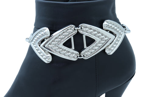 Gold Metal Chains Big Cross Rhinestones Charm Fringes  Boot Bracelet New Women Accessories