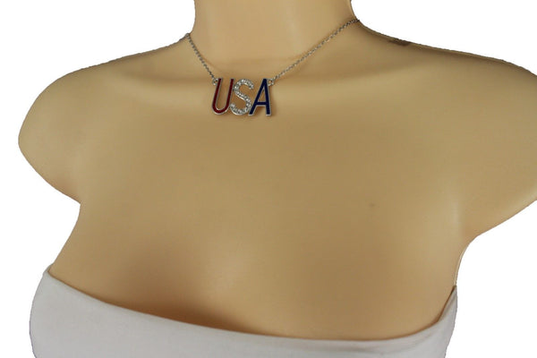 Cool Women Silver Metal Chain Fashion Necklace USA United States Jewelry Pendant