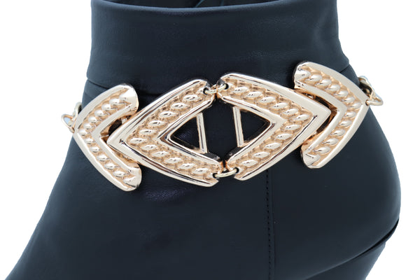 Brand New Women Gold Metal Chain Western Boot Bracelet Shoe Anklet Arrow Charm Jewelry