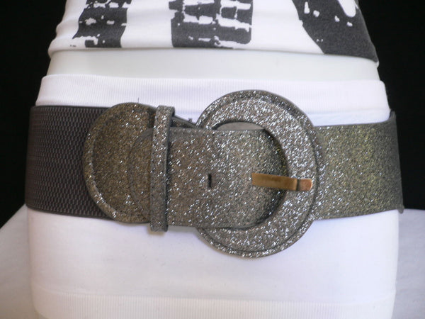 Gray / Dark Gray / Black / Gold / Brown / Brown Bronze / Red Elastic Hip Waist Sparkling Belt New Women Fashion Accessories XS To XL - alwaystyle4you - 33