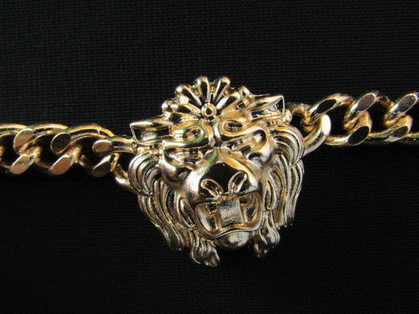 Gold Metal Thick Light Chains Bracelet Big Lion Head Trendy New Women Fashion Jewelry Accessories - alwaystyle4you - 4