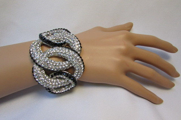 Gold / Silver Bracelet Cuff Braided Multi Rhinestones New Women Trendy Fashion Jewelry Accessories - alwaystyle4you - 12