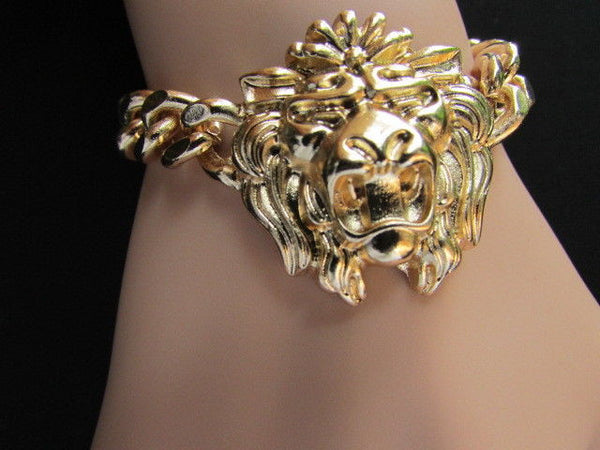 Gold Metal Thick Light Chains Bracelet Big Lion Head Trendy New Women Fashion Jewelry Accessories
