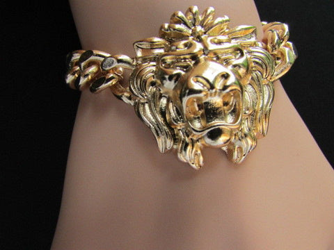 Gold Metal Thick Light Chains Bracelet Big Lion Head Trendy New Women Fashion Jewelry Accessories - alwaystyle4you - 1