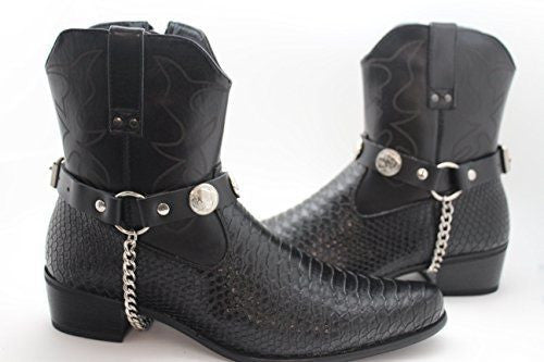 New Men Women Boot Silver Chain Pair Buffalo Charms Leather Biker Straps Western Style