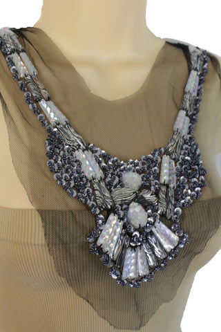 Artsy Women Black Lace Long Satin Tie Strand Necklace Zebra Beads Silver Sequins