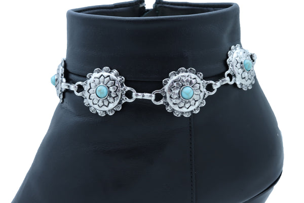 Women Silver Metal Boot Chain Bracelet Anklet Shoe Flower Charm Turquoise Blue One Size
