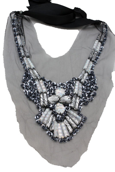 Black Lace Long Satin Tie Strand Zebra Beads Silver Sequins Artsy Necklace Women Fashion Accessories