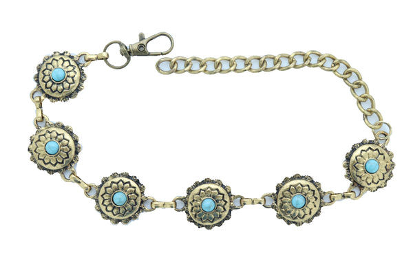 Women Antique Gold Metal Boot Chain Bracelet Shoe Charm Turquoise Blue Flower One Size
