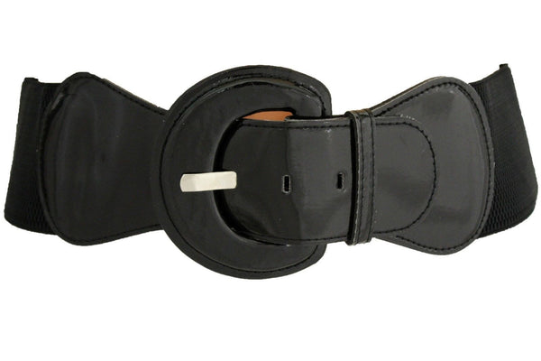 Black Wide Hip High Waist Stretch Buckle Belt New Women Fashion Accessories Plus Size M L XL