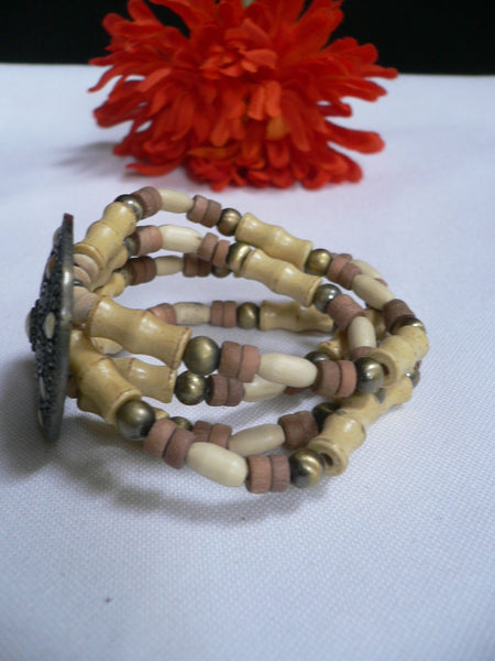 Beige Brown Wood Cream / Brown Bracelet Gold Dots Beads Native Style Fashion New Women Jewelry Accessories - alwaystyle4you - 15