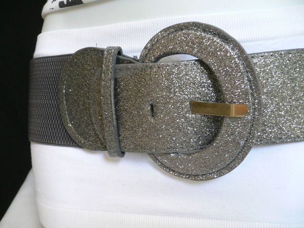 Gray  Dark Gray  Black  Gold  Brown  Brown Bronze  Red Elastic Hip Waist Sparkling Belt New Women Fashion Accessories XS To XL