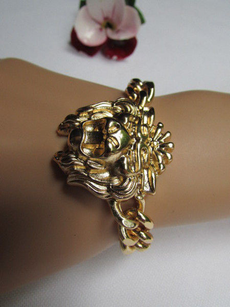 Gold Metal Thick Light Chains Bracelet Big Lion Head Trendy New Women Fashion Jewelry Accessories - alwaystyle4you - 9