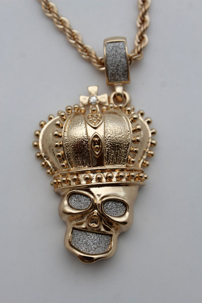 Men Gold Metal Chain Necklace Skeleton Skull Charm Crown 3D