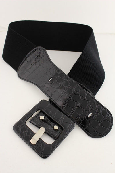 Women Belt Wide Elastic Black Fashion Hip High Waist Square Buckle Fits M L XL