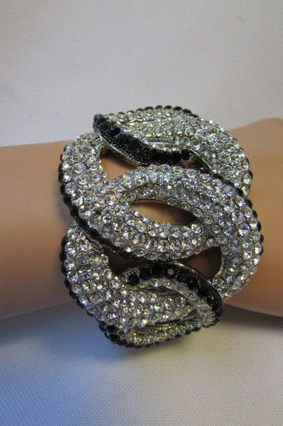 Gold / Silver Bracelet Cuff Braided Multi Rhinestones New Women Trendy Fashion Jewelry Accessories - alwaystyle4you - 13