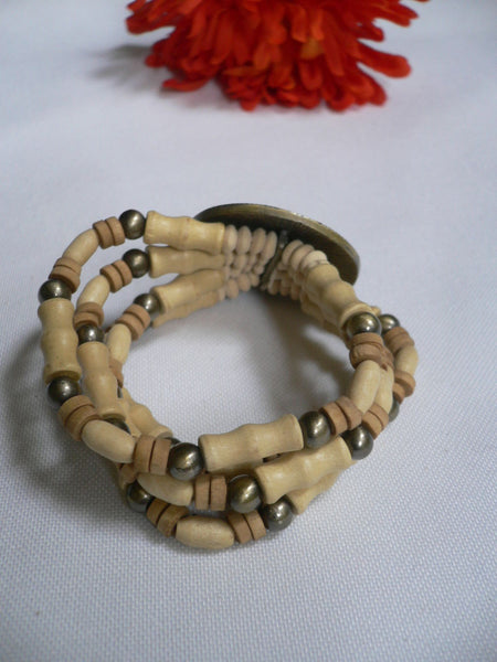 Beige Brown Wood Cream / Brown Bracelet Gold Dots Beads Native Style Fashion New Women Jewelry Accessories - alwaystyle4you - 16