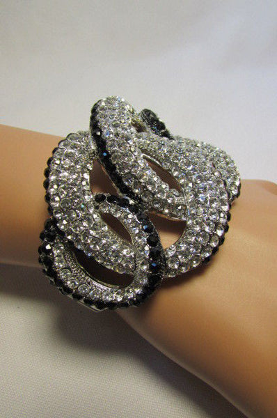Gold / Silver Bracelet Cuff Braided Multi Rhinestones New Women Trendy Fashion Jewelry Accessories - alwaystyle4you - 14