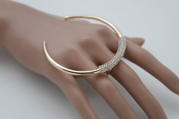 Chic Women Knuckle Ring Wide Gold Bling Half Moon Rhinestones Jewelry Size 7