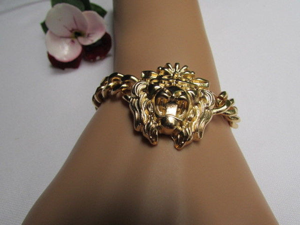 Gold Metal Thick Light Chains Bracelet Big Lion Head Trendy New Women Fashion Jewelry Accessories - alwaystyle4you - 10