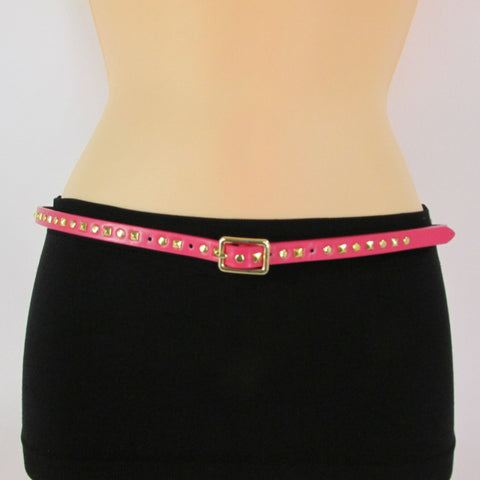 Pink Skinny Narrow Classic Belt Gold Studs Banana Republic New Women Fashion Accessories  XS S M L - alwaystyle4you - 1