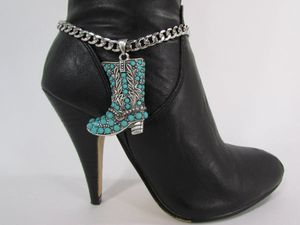 Turquoise / Silver Metal Western Shoe Bling Anklet Charm Boot Chain Bracelet New Women Cowboy Rodeo Fashion - alwaystyle4you - 11