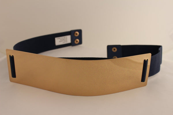 Light Brown (Mocha) / Dark Navy / Royal Blue / Gold Yellow / Black /Red / White Elastic Stretch Back High Waist Hip Belt Gold Metal Mirror Plate New Women Fashion Accessories Plus Size - alwaystyle4you - 11