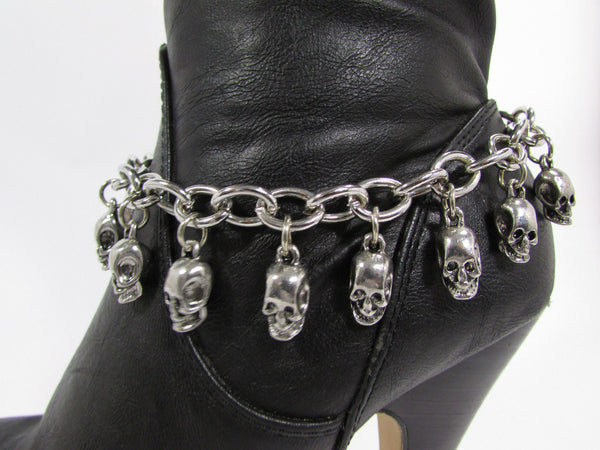 Silver Metal Boot Chain Bracelet Strap Shoe Mini Skull Charm Bling New Women Punk Biker Fashion - alwaystyle4you - 11