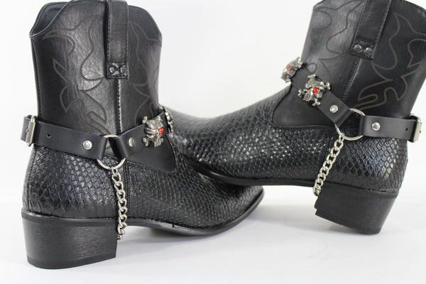 Fashionable Biker Western Boots Bracelets Chain Black Leather 2 Straps Silver Skull Skeleton