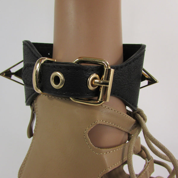 Gold Metal Spikes Boot Anklet Chain Bracelet Black Faux Leather Straps One Strap Shoe Women - alwaystyle4you - 11