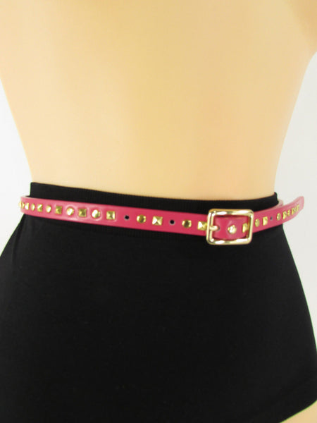Pink Skinny Narrow Classic Belt Gold Studs Banana Republic New Women Fashion Accessories  XS S M L - alwaystyle4you - 11
